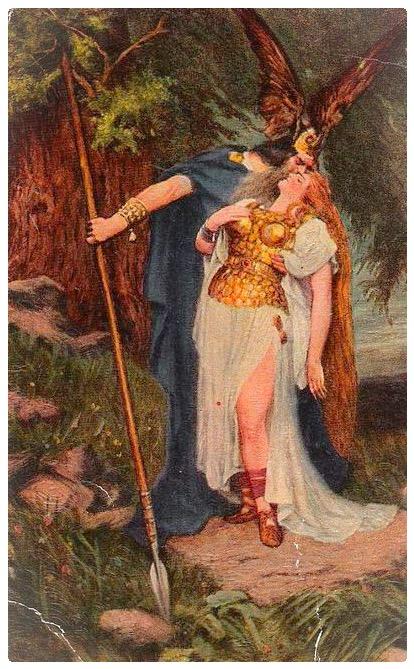Wotan e Brünhilde Hans Thoma RICHARD WAGNER ANELLO Nibelungen canoni H a3 0511